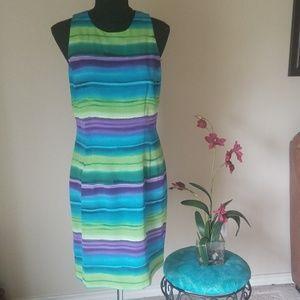 Maggy London 100% Silk Stripe Dress Size 8